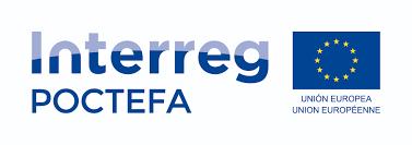 Logo Interreg Poctefa, con la bandera de la Unión Europea