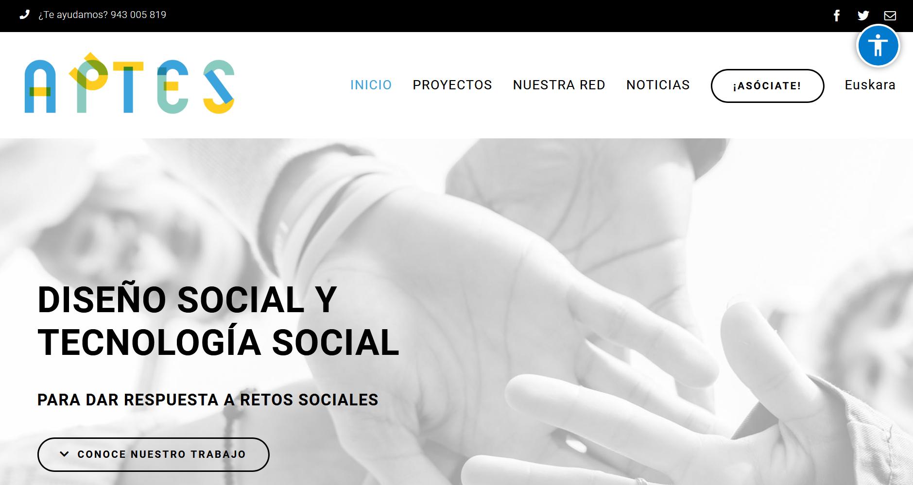 Imagen de la página de inicio de la nueva web de APTES