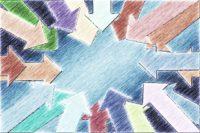 Flechas dibujadas a mano en diferentes colores y orientadas hacia el centro.