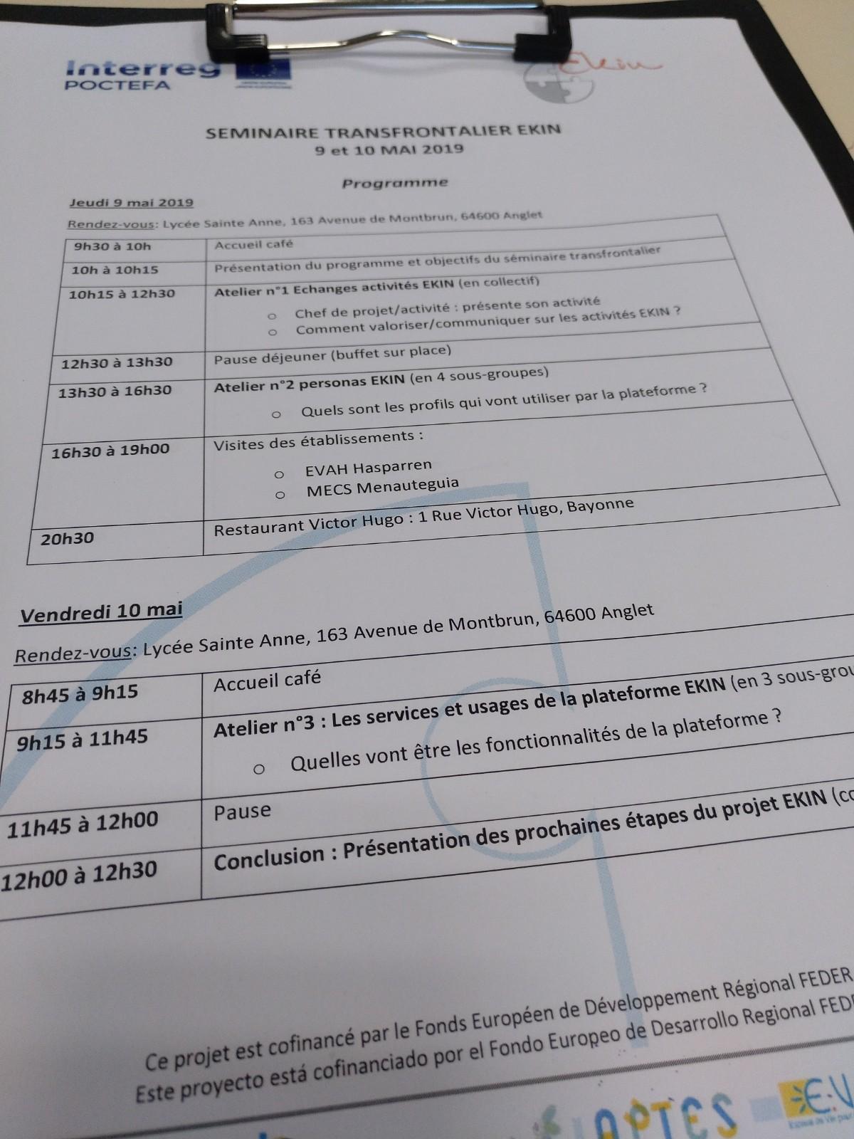 Orden del Día Seminario EKIN 9/10 Mayo 2019Anglet