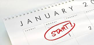 Calendario semanal, en el que aparece la palabraStart! (inicio) escrita en rojo en el día 1