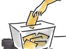 Dibujo esbozado de una urna con votos y una mano introduciendo el voto en ella.