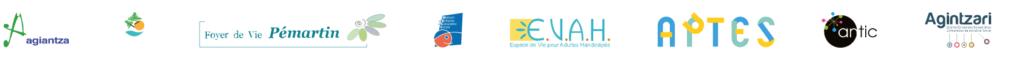 Logos de los 8 socios de la iniciativa EKIN: Agiantza, Agintzari, Antic, Aptes, Evah, Foyer de Vie Pémartin, Stella Maris, MECS Castillon