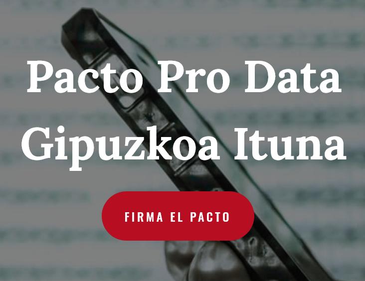 "Imagen de inicio, con el texto ""Pacto Pro Data Gipuzkoa Ituna"" Firma el pacto"