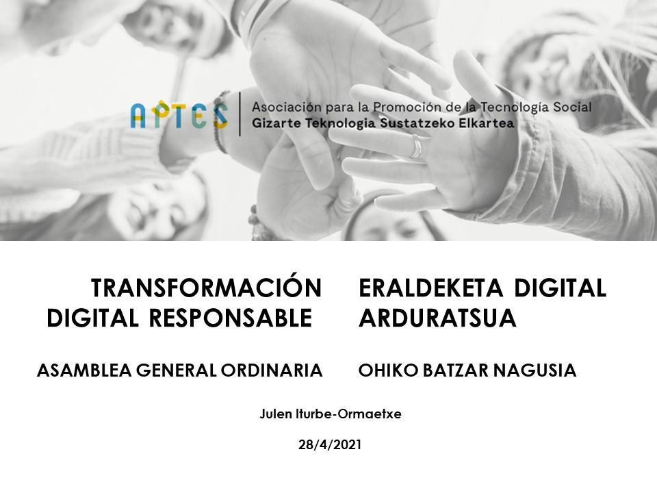 Carátula charla Transformación Digital Responsable | Julen Iturbe-Ormaetxe