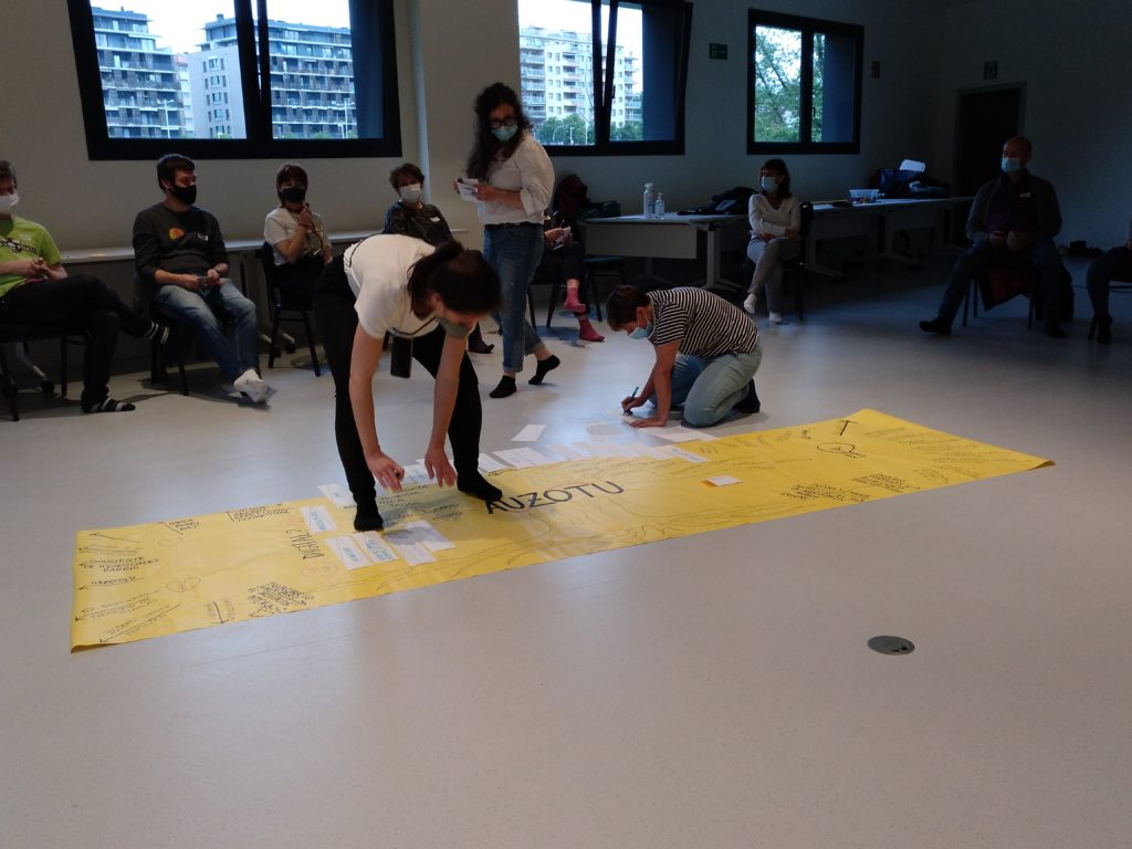 Dos personas, descalzas, completan un mural de evaluación de Auzotu, en un papel grande amarillo apoyado en el suelo.