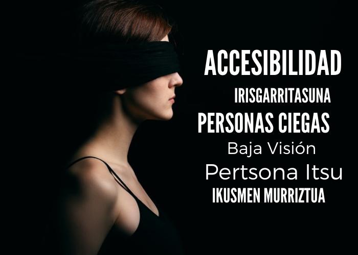 Mujer de perfil, con los ojos tapados con un pañuelo. Cartel anunciador del curso de RRSS y documentos accesibles para personas con discapacidad visual.